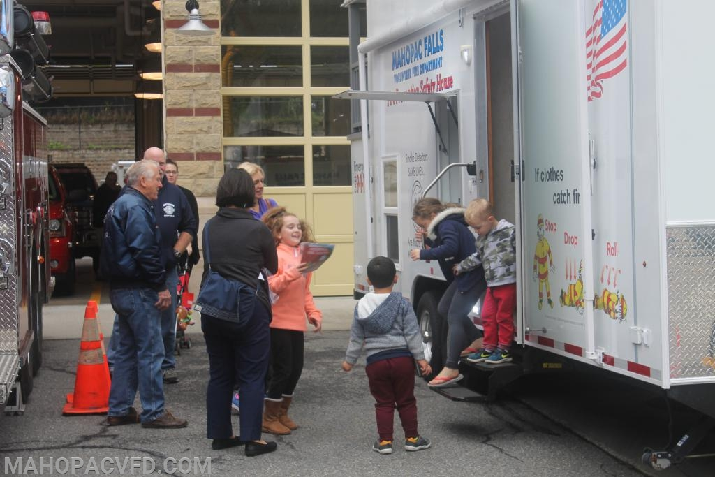 kids go through Mahopac Falls Safety Trailer