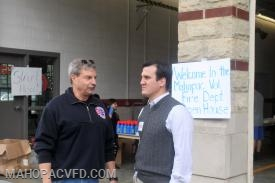 Assemblyman Kevin Byrne gets an update as to what's happening in the Fire Service from  Past Chief Jim Ciulla